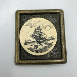 """Etched Moby Dick """"Hawaii"""" Bone Carved Belt Buckle"""